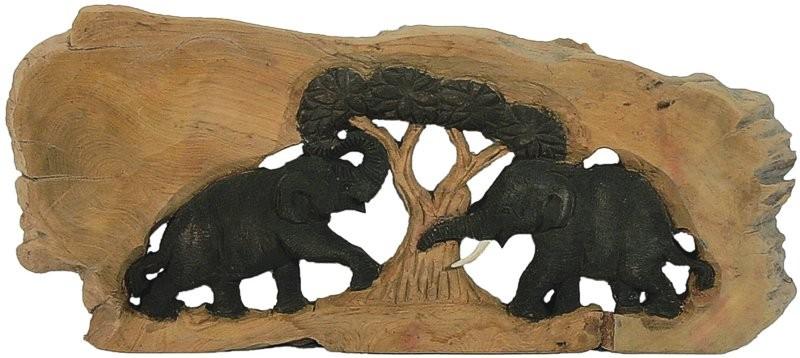 Holz-Elefanten MARULA geschnitzt im Naturholzrahmen, Längsformat, 2 Tiere