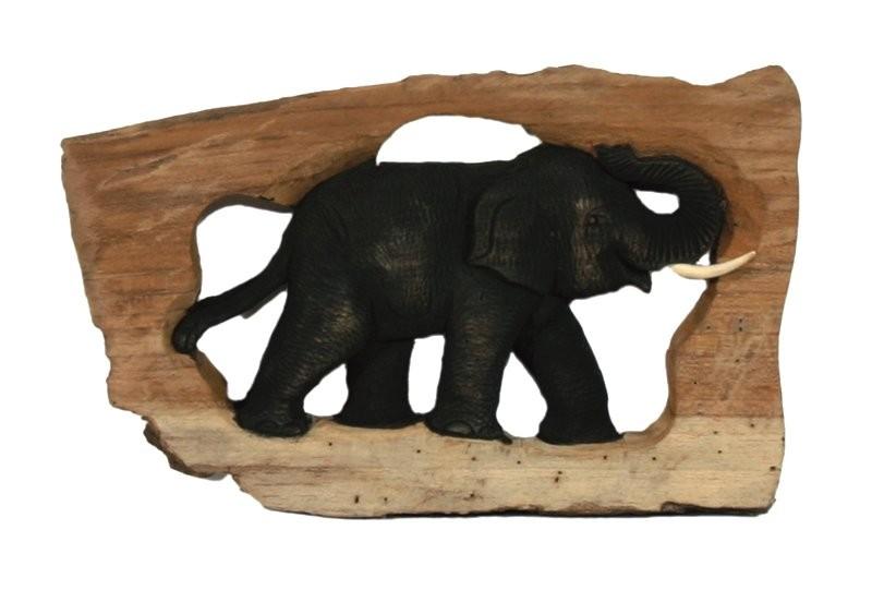 Holz-Elefant SINGLE geschnitzt im Naturholzrahmen