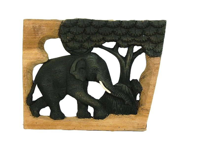 Holz-Elefant ROOTS geschnitzt mit Baum im Naturholzrahmen, rechteckig