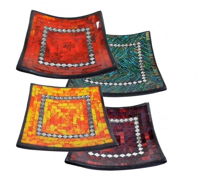 Glas-Mosaik-Schale mit hintermalten Glassteinen belegt - Dekoschale 30 cm