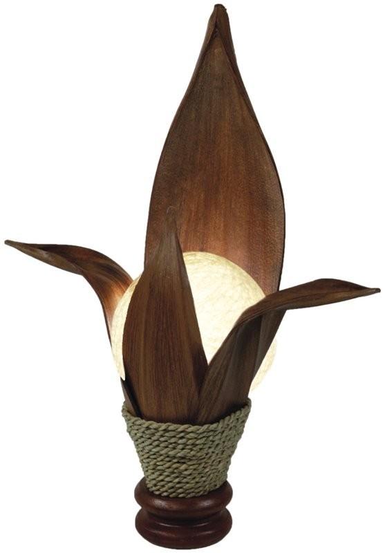 deko leuchte lotus 4 bl tter tisch lampe aus natur materialien stimmungsleuchte dekoleuchten. Black Bedroom Furniture Sets. Home Design Ideas