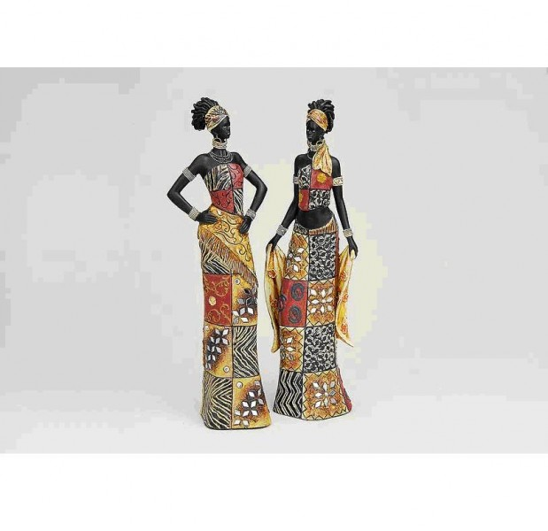 Zierfigur Afrikanerin, buntes Kleid, 2er Set, Deko-Figur