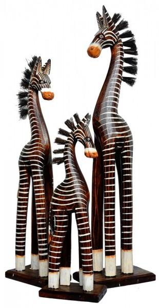 holz zebra deko zebra im 3 er set tierfiguren afrika. Black Bedroom Furniture Sets. Home Design Ideas