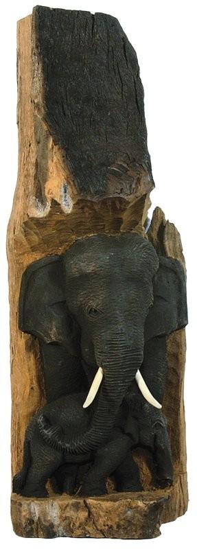 Deko-Elefant in einem Teakholzstamm, 2 Elefanten