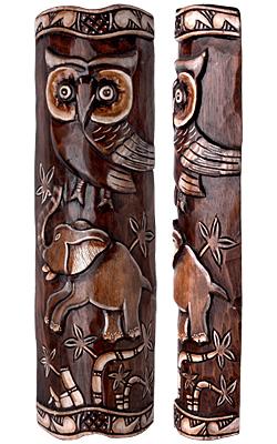 Maske Animal aus Holz, Motiv Eule und Elefant