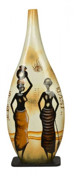 Deko-Leuchte Yasin, handbemalte afrikanische Lampe
