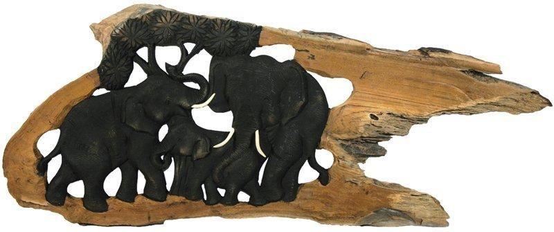 Holz-Elefanten HAPPY FAMILY geschnitzt im Naturholzrahmen, 3 Tiere