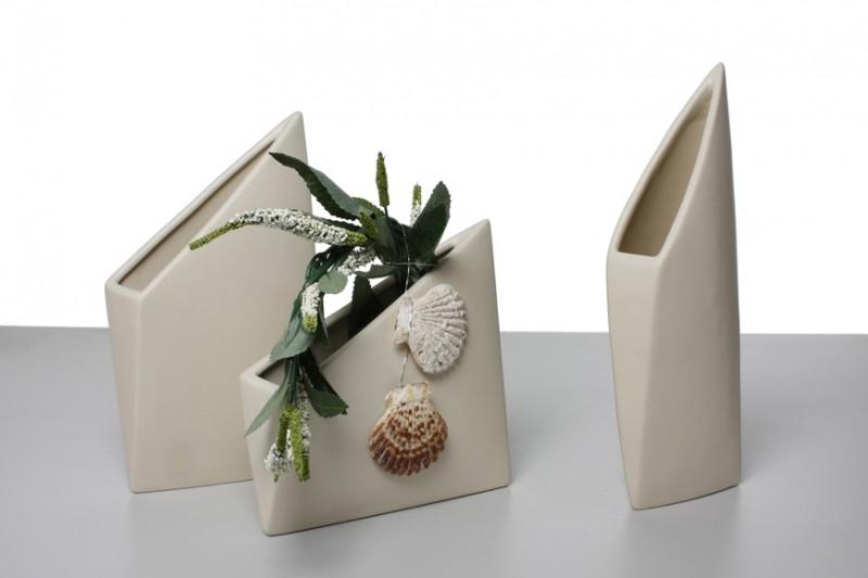 Design-Vase ORIGAMI, Keramik, creme, matt Vasen Modern