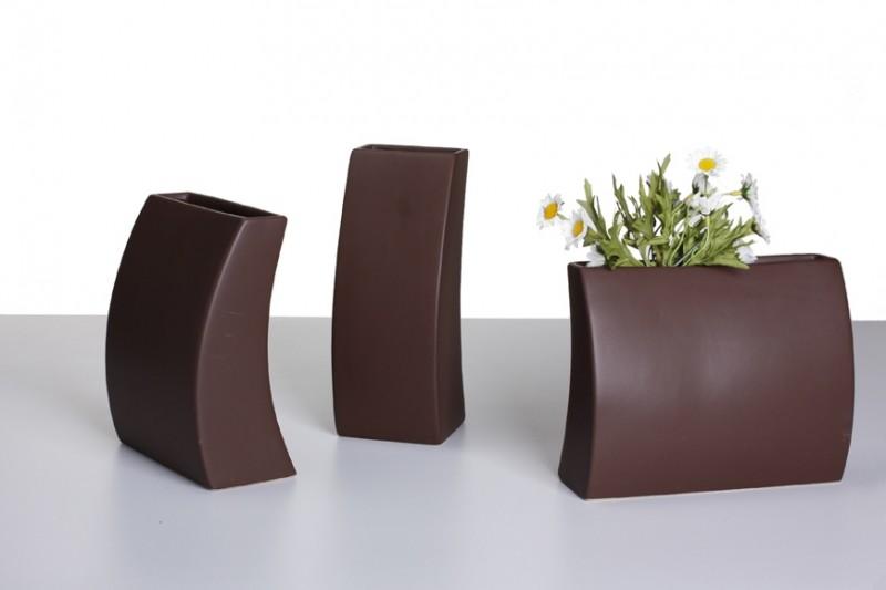 design vase mia deko vase keramik mocca vasen modern. Black Bedroom Furniture Sets. Home Design Ideas