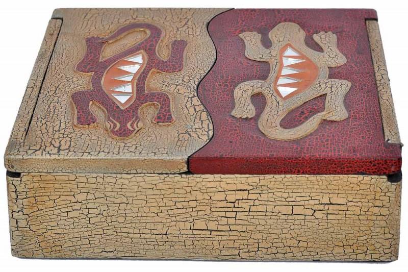 Schatulle aus leichten Albesia-Holz, handbemalt, Gecko oder Sonne & Mond